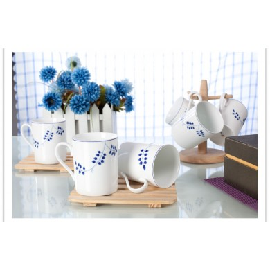 6 pcs porcelain mug set with in glaze decoration