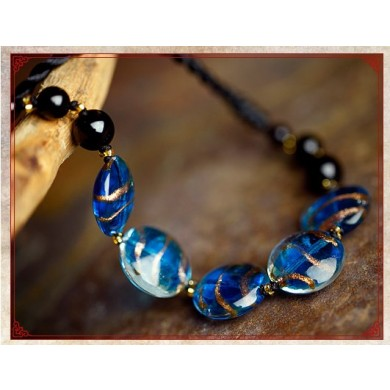 Mystical blue colored glaze agate necklace
