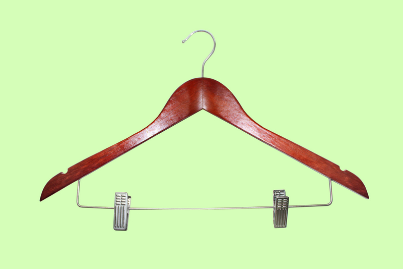 combination wooden hanger with bar and clips