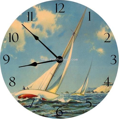 Sailing Race Wall Clock by Vintage Artwork