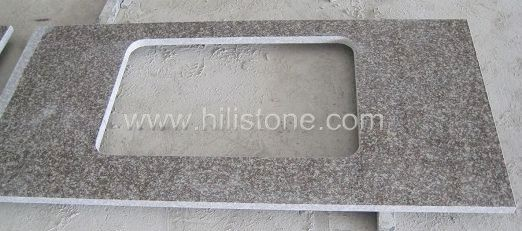 G664 Pink Granite Polished Countertop - Flat edge