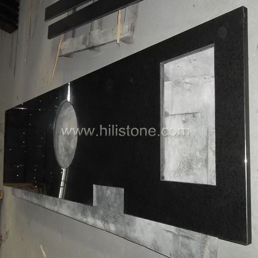 G684 Black Polished Countertop - Flat Edge