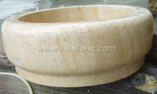 Beige Marble Polished Stone Sink