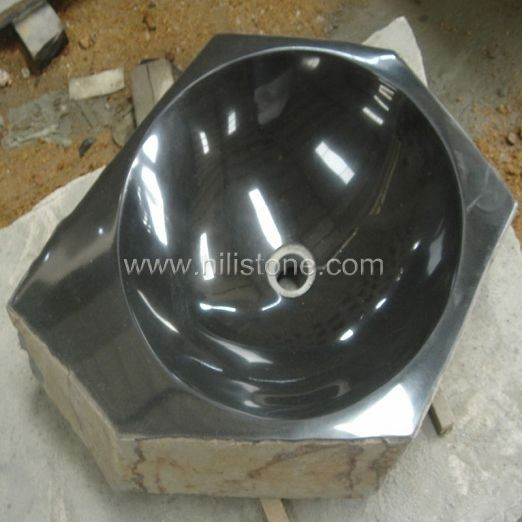 Black Basalt Polished Stone Sink