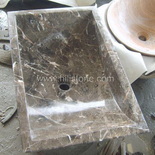 Dark Emperador Marble Polished Stone Sink