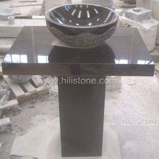 Shanxi Black Granite Stone Sink with Stand
