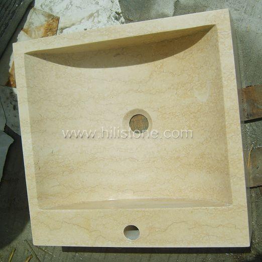 Sunny Beige Marble Polished Stone Sink