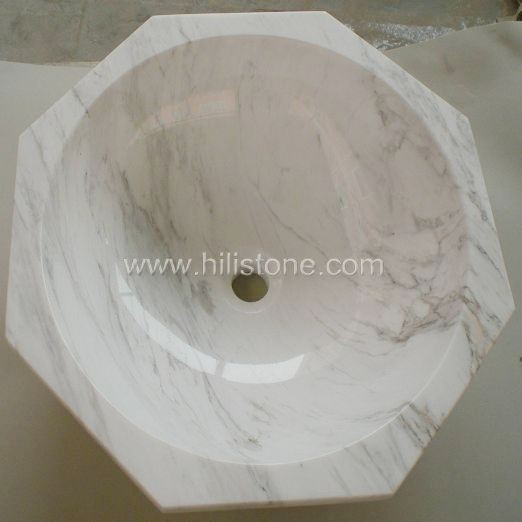 White Marble Polished Stone Sink