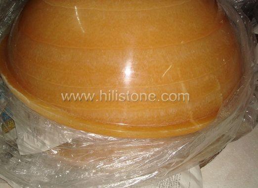 Yellow Onyx Polished Stone Sink
