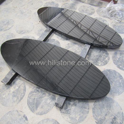 Black Granite Polished Table top - Oval