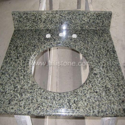 China Green Granite Vanity Top with Backsplash