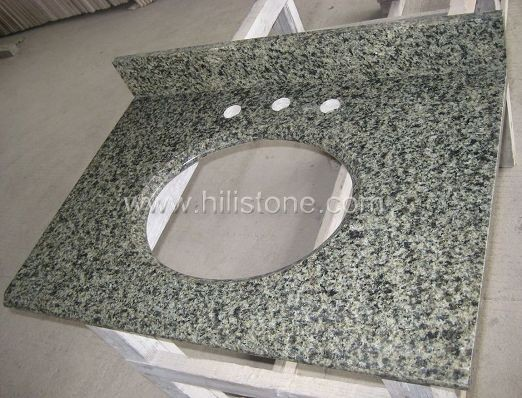 China Green Granite Vanity Top with Backsplash