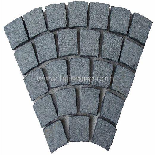 Black Basalt on Mesh- Flamed - Fan Shape