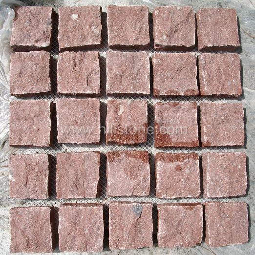 Red Porphyry A Cobblestone on Mesh-Natural-Square