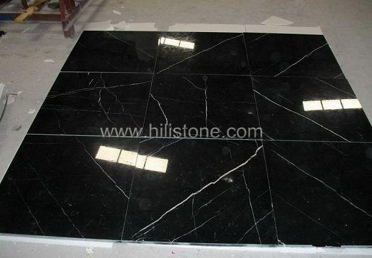 Black Maquina Marble Polished Tiles
