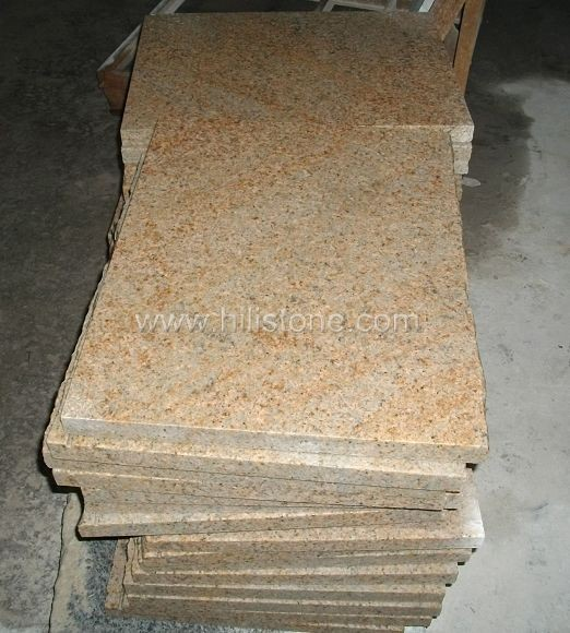 G682 Granite Flamed Step with natural edge