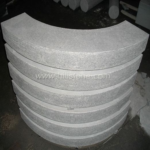 G654 Blue Black Flamed Curved Stone Block Step