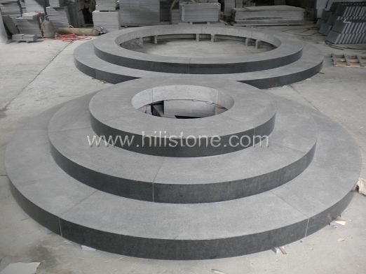 G654 Blue Black Flamed Round Stone Block Step
