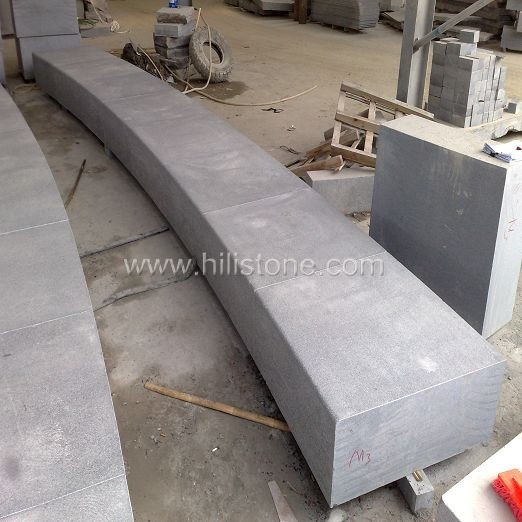 G654 Blue Black Granite Flamed Stone Block Step