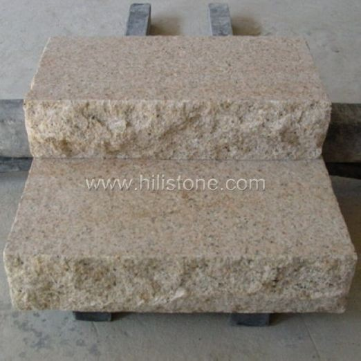 G682 Yellow Granite Flamed Stone Block Step