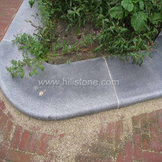 G654 Blue Black Flamed Curved Stone Kerbs