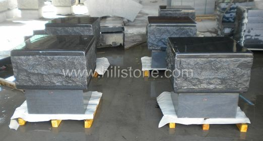 G654 Blue Black Granite Honed Pouf Kerbs - Small