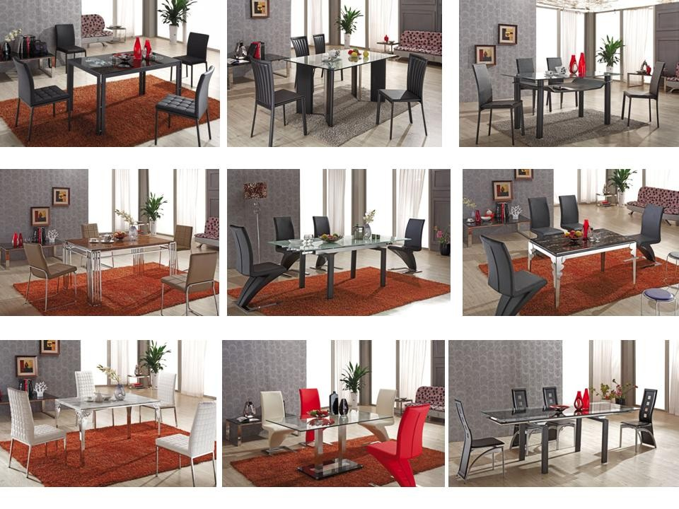 L820-3 Tempered Glass Top Dining Table