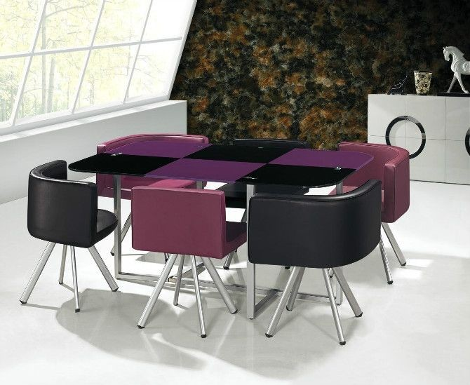 Low Price Glass Dining Table Set 608 Purple