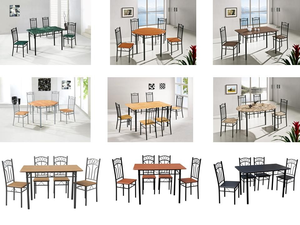 low price mdf metal dining table set mdt03
