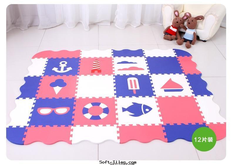 Non-toxic Children puzzle mat with rails design
