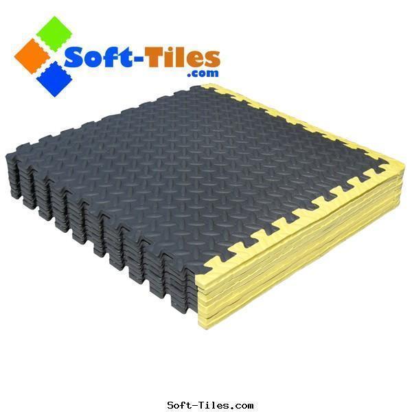 Garage Foam Flooring with Yellow Borders