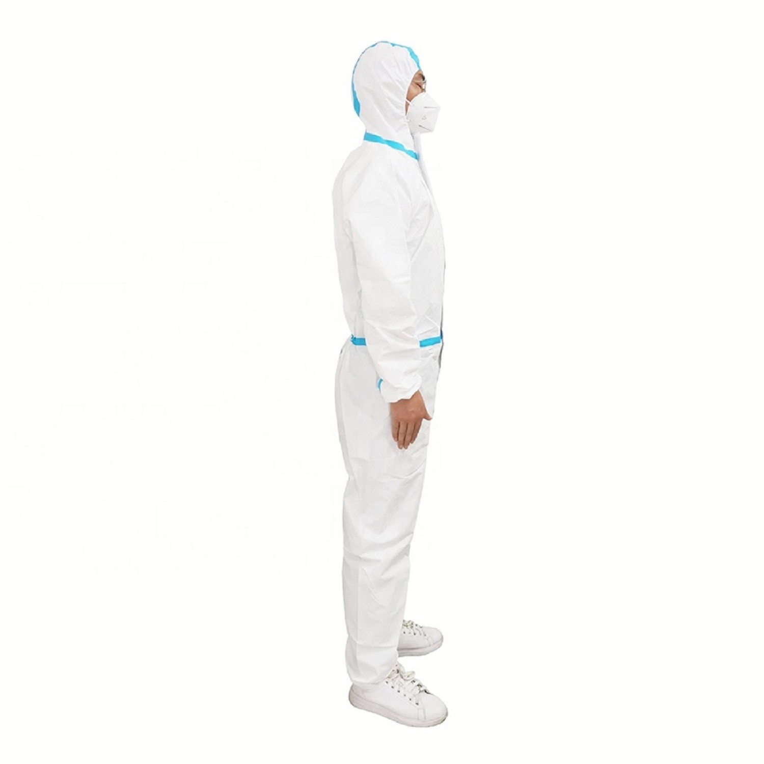 White disposable microporous coveralls with hood