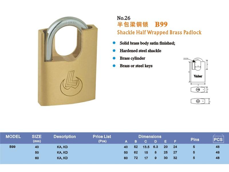 Arc type wrapped brass padlock