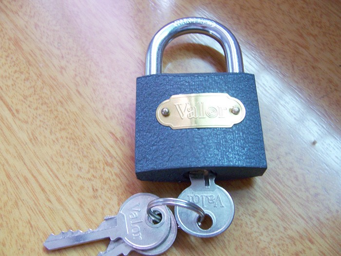 grey color iron padlock